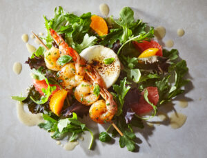 Warm Salad of Shrimps with Grapefruit-Maple Vinaigrette