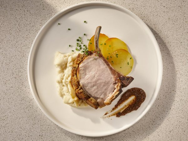 Recipe — Québec Pork Loin in an Old Cheddar and Maple Sugar Crust with a Maple Black Garlic Purée