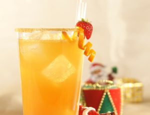 Bubbly Fruit Cocktail with Maple Syrup