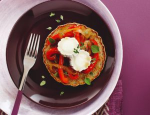 Buckwheat-Chia Pancakes with Maple-Caramelized Peppers and Goat Cheese