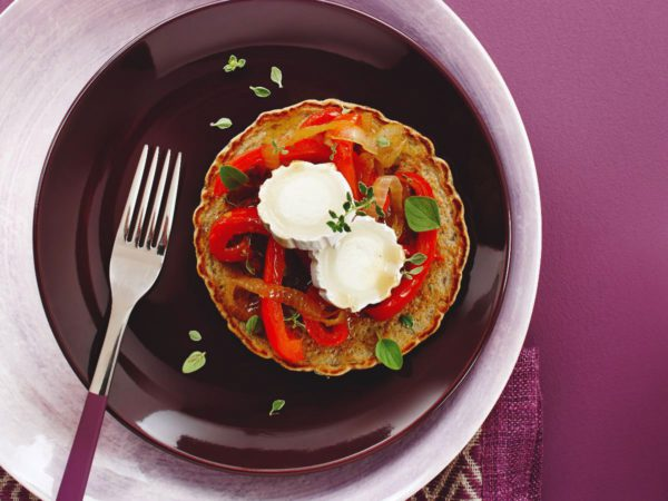 Recipe — Buckwheat-Chia Pancakes with Maple-Caramelized Peppers and Goat Cheese