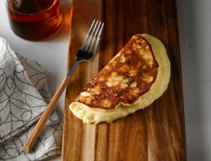 Soufflé Crepes with Cheddar and Maple Syrup