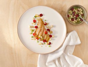 Cold Marinated Sturgeon with a Maple-Apple Vinaigrette