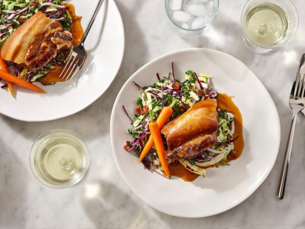 Recipe — Maple Syrup-Braised Pork Belly with Maple Glazed Carrots and Maple Vinegar Coleslaw