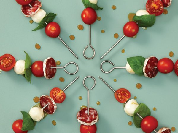 Recipe — Maple Glazed Tomatoes, Bocconcini and Dry Sausage Mini Skewers