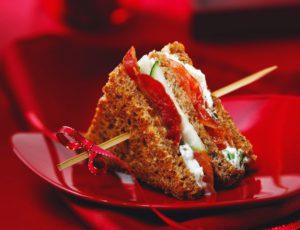 Maple Salmon Carpaccio Mini Club Sandwiches