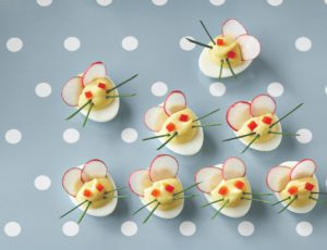 Maple Deviled-Egg Mice