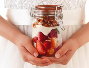 Maple Cheesecake in a Jar with Fresh Fruits and Almond Crumble