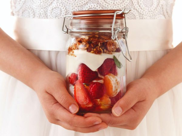 Recipe — Maple Cheesecake in a Jar with Fresh Fruits and Almond Crumble