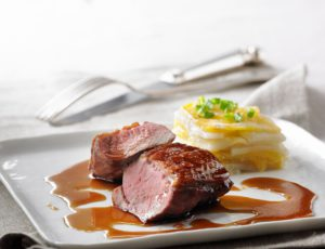 Maple-Lacquered Brome Lake Duck Breast with Crisp and Tender Root Vegetable Gratin