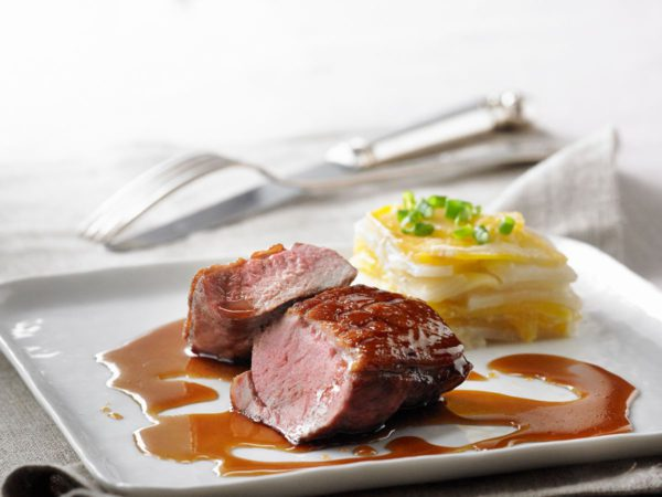 Recipe — Maple-Lacquered Brome Lake Duck Breast with Crisp and Tender Root Vegetable Gratin