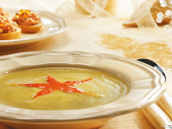 Recipe — Zucchini Soup with Red Pepper and Maple Syrup Coulis