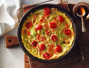 Recipe — Crustless Vegetable Quiche with Maple Syrup
