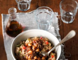 Vegetable Rice Pilaf with Maple-Caramelized Chick Peas