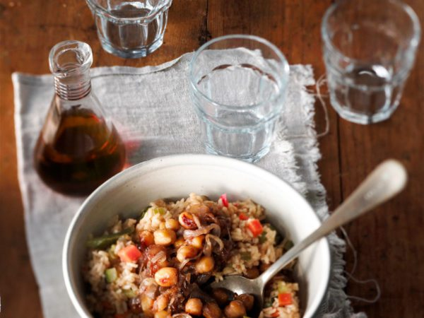 Recipe — Vegetable Rice Pilaf with Maple-Caramelized Chick Peas