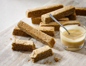 Buckwheat Shortbread with Maple Sauce