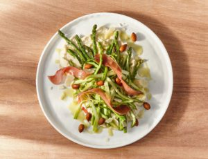 Asparagus-Serrano Salad with Almond Cream and Maple-Mustard Vinaigrette