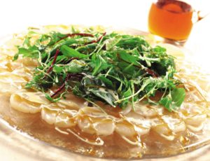 Scallop Carpaccio Salad with Creamy Maple Sauce
