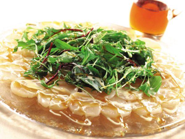 Recipe — Scallop Carpaccio Salad with Creamy Maple Sauce