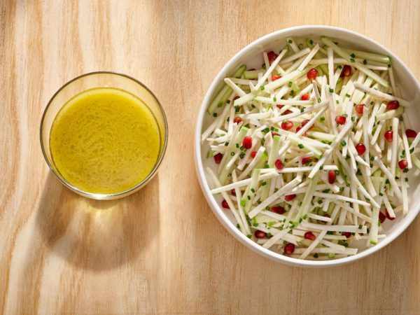 Recipe — Celeriac, Granny Smith Apple and Pomegranate Salad With Maple-Garlic Scape Vinaigrette