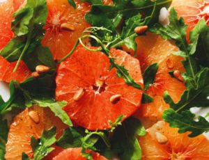Pink Grapefruit Salad with Vanilla and Maple Syrup
