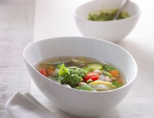 Vegetable Soup with Maple Water and Maple Butter Pesto