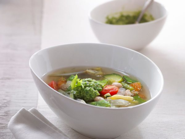 Recipe — Vegetable Soup with Maple Water and Maple Butter Pesto