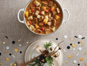 Pork Stew with Root Vegetables, Maple Sauce and Za'atar