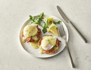 Maple Eggs Benedict with Bacon