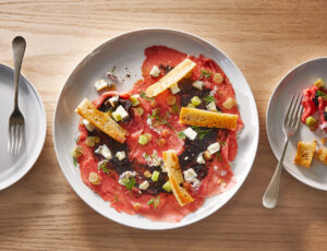 Beef Carpaccio with a Maple-Black Garlic Paste and Rhubarb