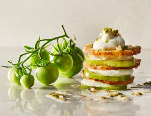 Green Tomato Millefeuille with Creamy Goat Cheese and Maple Vinaigrette