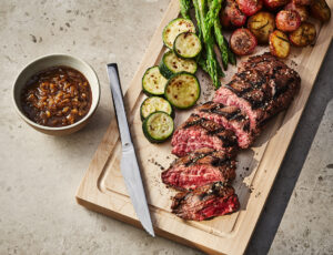 Grilled Hanger Steak with a Maple-Beer Shallot Sauce and Grilled Veggies